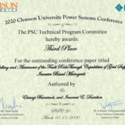DUT paper 3rd at Clemson University Power System Conference